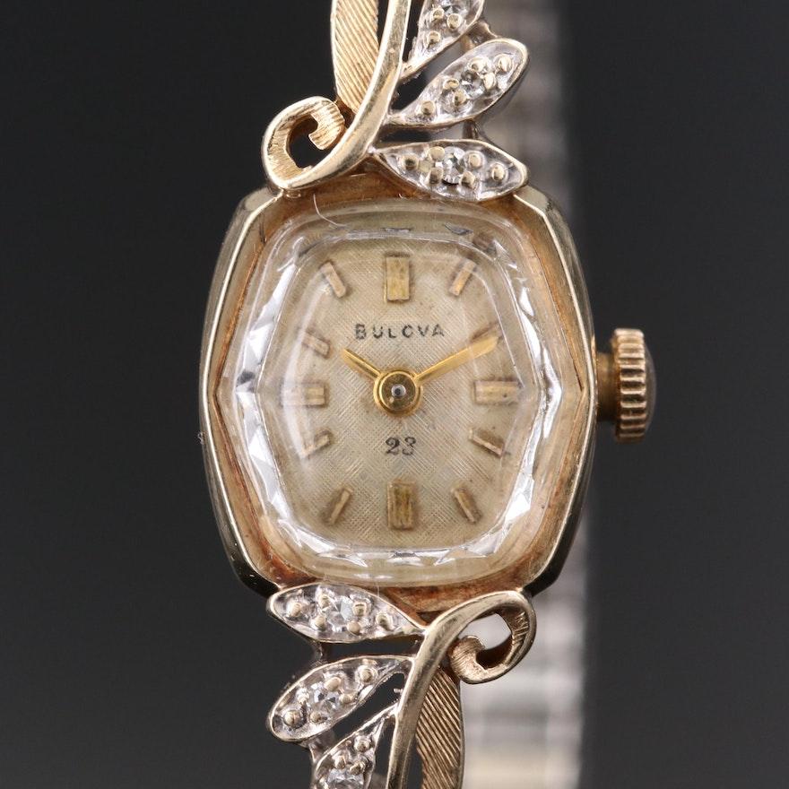 Vintage Bulova 14K Gold and Diamond Stem Wind Wristwatch