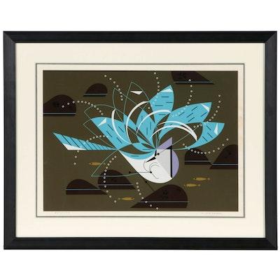 "Charley Harper Serigraph ""Blue Jay Bathing"""
