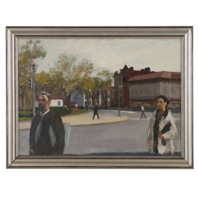Street Scene Oil Painting, 20th Century