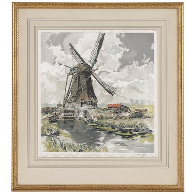 Hans Figura Etching on Silk of Pastoral Scene with Windmill