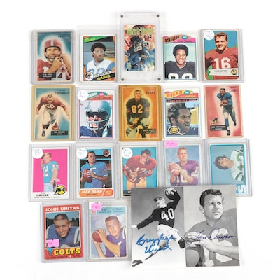 Football Cards, 1950s-1990s with Two Signed Postcards