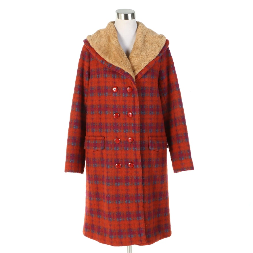 Anna Sui Plaid Wool Blend Double-Breasted Coat with Faux Shearling