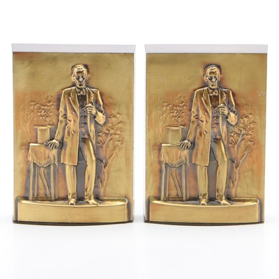 Philadelphia Mfg. Co. Brass Clad Abraham Lincoln Bookends, Mid-20th Century