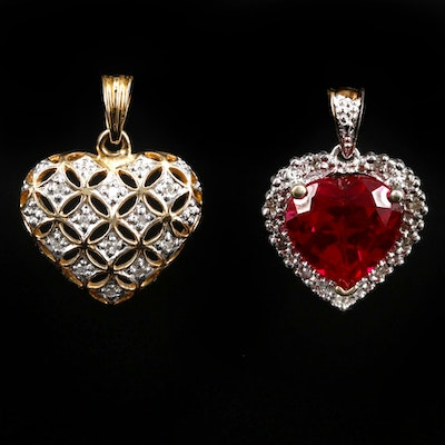 14K Gold Diamond and 10K Gold Ruby and Diamond Heart Pendants