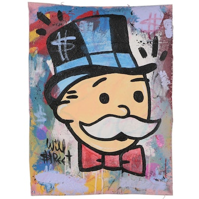 "Will $treet Acrylic Painting ""Uncle Pennybags"", 2019"