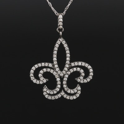 14K White Gold Diamond Fleur de Lis Pendant Necklace