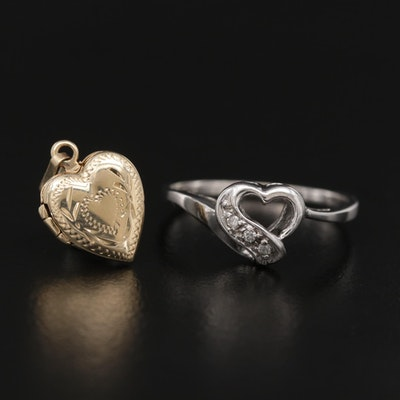 10K White Gold Diamond Heart Ring and 14K Yellow Gold Heart Locket Pendant