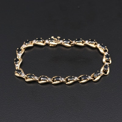 10K Yellow Gold Sapphire and Diamond Bracelet