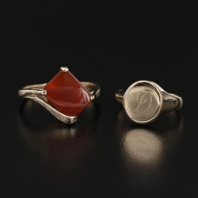 """10K Yellow Gold Carnelian Ring and """"D"""" Ring"""