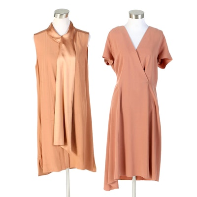 Adam Lippes and Joseph June Crepe Stretch Satin Finish Dresses
