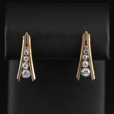 14K Yellow Gold Diamond Drop Earrings with Vintage Platinum Setting