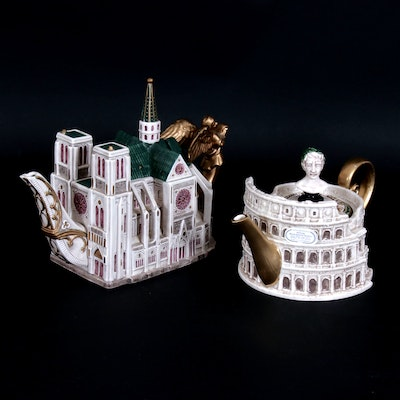 "Fitz & Floyd ""The Colosseum"" and ""Notre Dame Cathedral"" Ceramic Teapots"