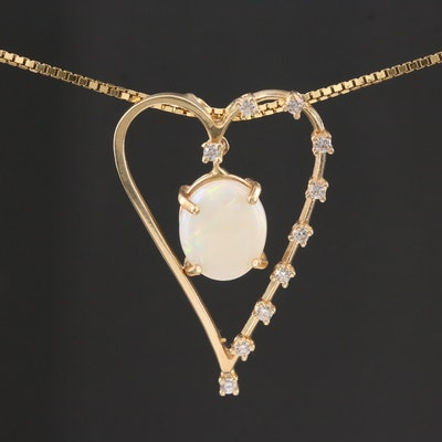 14K Yellow Gold Opal and Diamond Heart Pendant Necklace