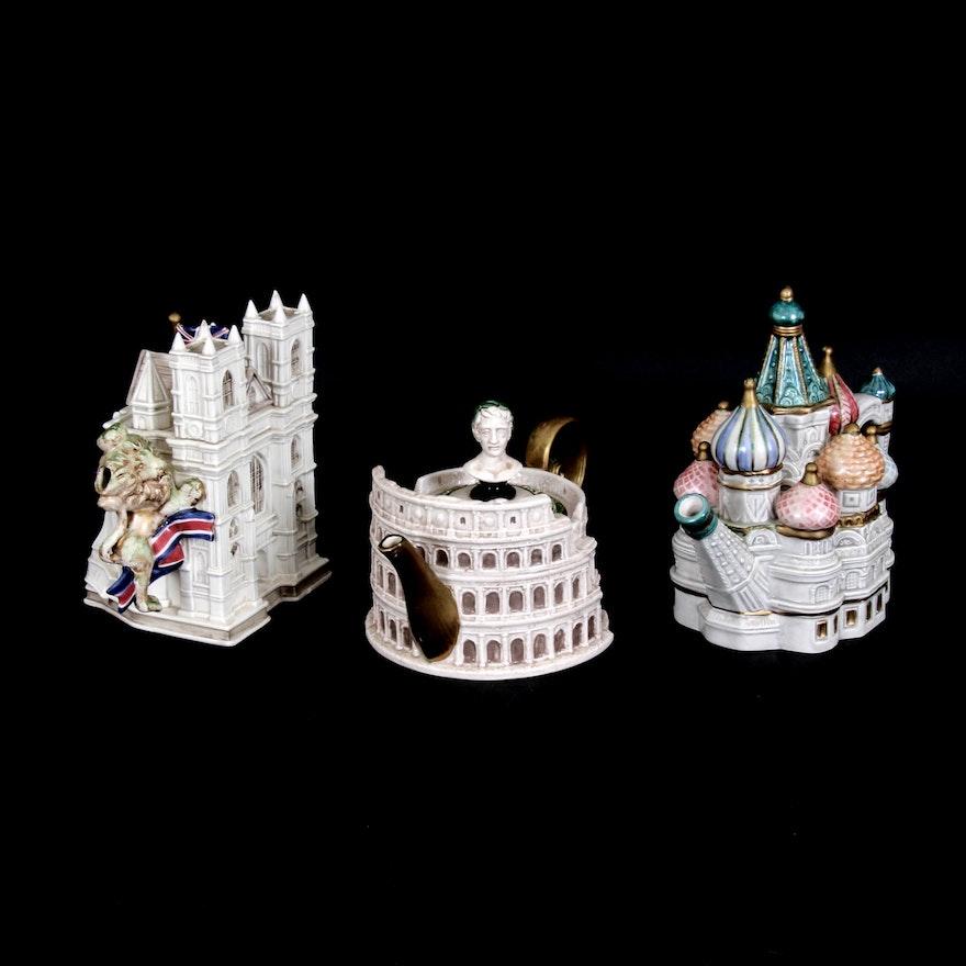"Fitz & Floyd ""Famous Landmarks Around the World"" Ceramic Teapots"