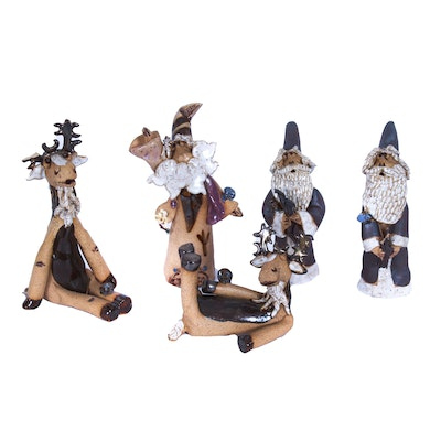 Hand-Sculpted Whimsical Clay Moose, Santa and Wizard Figurines