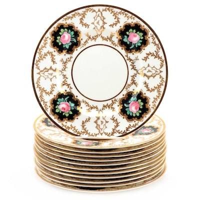 Cauldon Ltd Gilded Porcelain Luncheon Plates with Rose Motif, 1904–1920