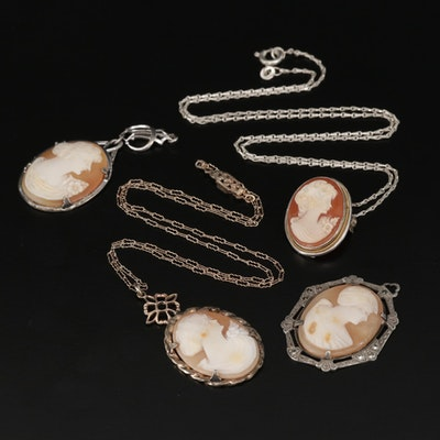 Vintage Sterling Silver Carved Shell Cameo Necklaces and Pendants