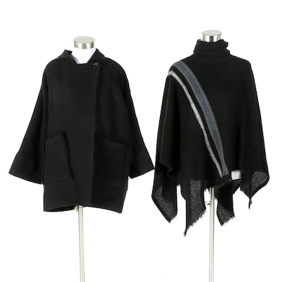 IRO Paris Black Knit Jacket with Black Wool and Stripe Knit Turtleneck Poncho