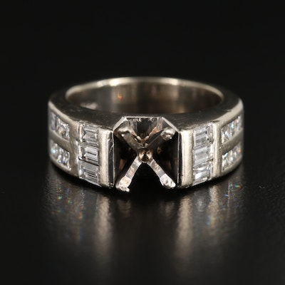 14K White Gold 1.00 CTW Diamond Semi-Mount Ring