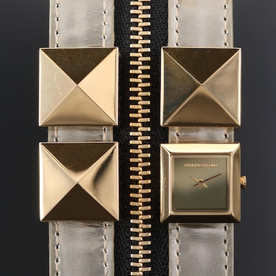 Karl Lagerfeld Edge Gold Tone Double Cuff Wristwatch
