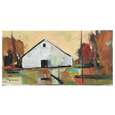 "Jose Trujillo Landscape Oil Painting ""The Cattle Barn,"" 2019"