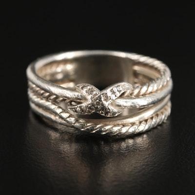 "David Yurman ""X Crossover"" Sterling Silver Diamond Ring"