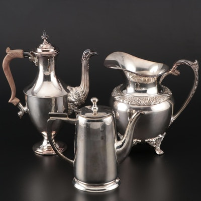 Silver Plate Teapots and Water Pitcher Including Rogers Bros.