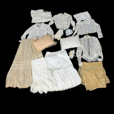 Edwardian Handmade Lace, Eyelet, Crocheted, and Embroidered Textiles and Blouses