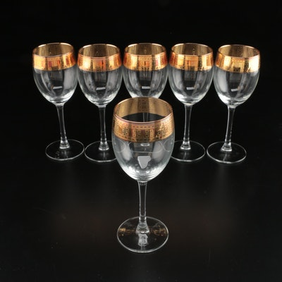 Holland Crystal Gilt Banded Wine Glasses, 1980s