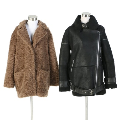 Walter Baker Lambskin Leather with Iris & Ink Faux Shearling Jackets