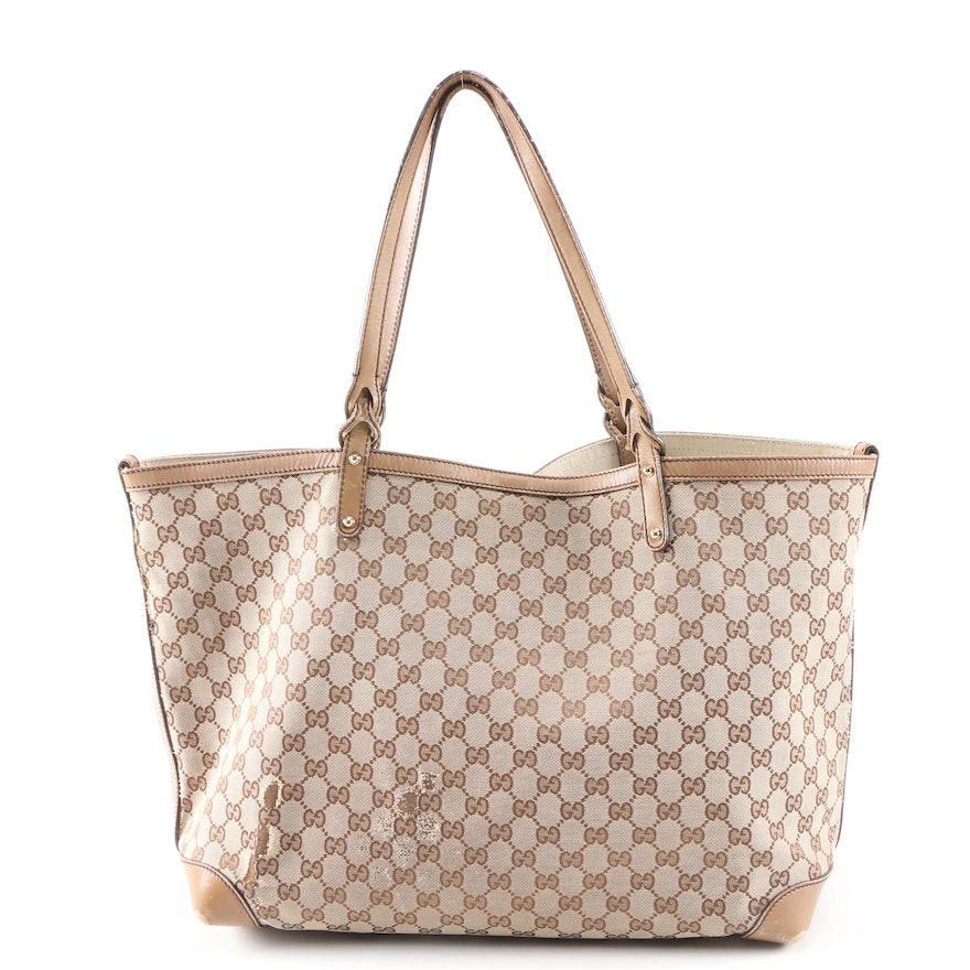 Gucci Craft Shopper Tote in GG Canvas and Leather