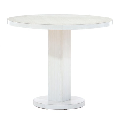 Mid Century Modern White Grained Laminate Pedestal Table