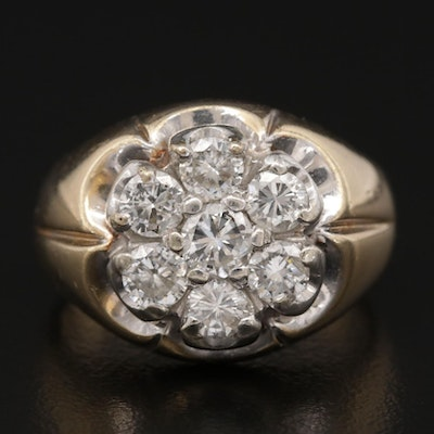 Vintage 14K Yellow Gold 1.54 CTW Diamond Ring with White Gold Accent