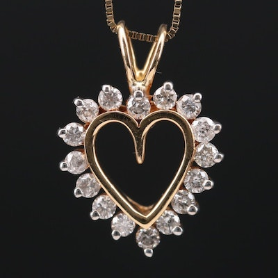14K Yellow Gold Diamond Heart Pendant on Box Chain