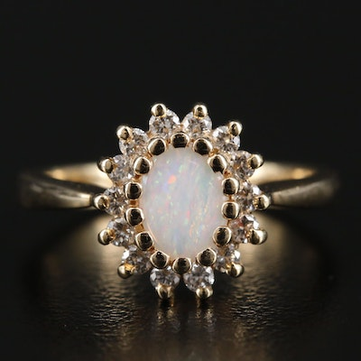 14K Yellow Gold Opal and Diamond Ring