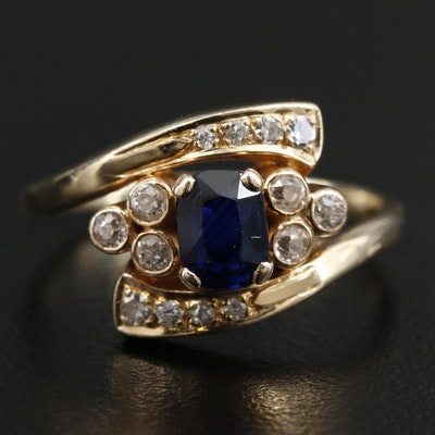 14K and 10K Yellow Gold Sapphire and Diamond Bypass Ring