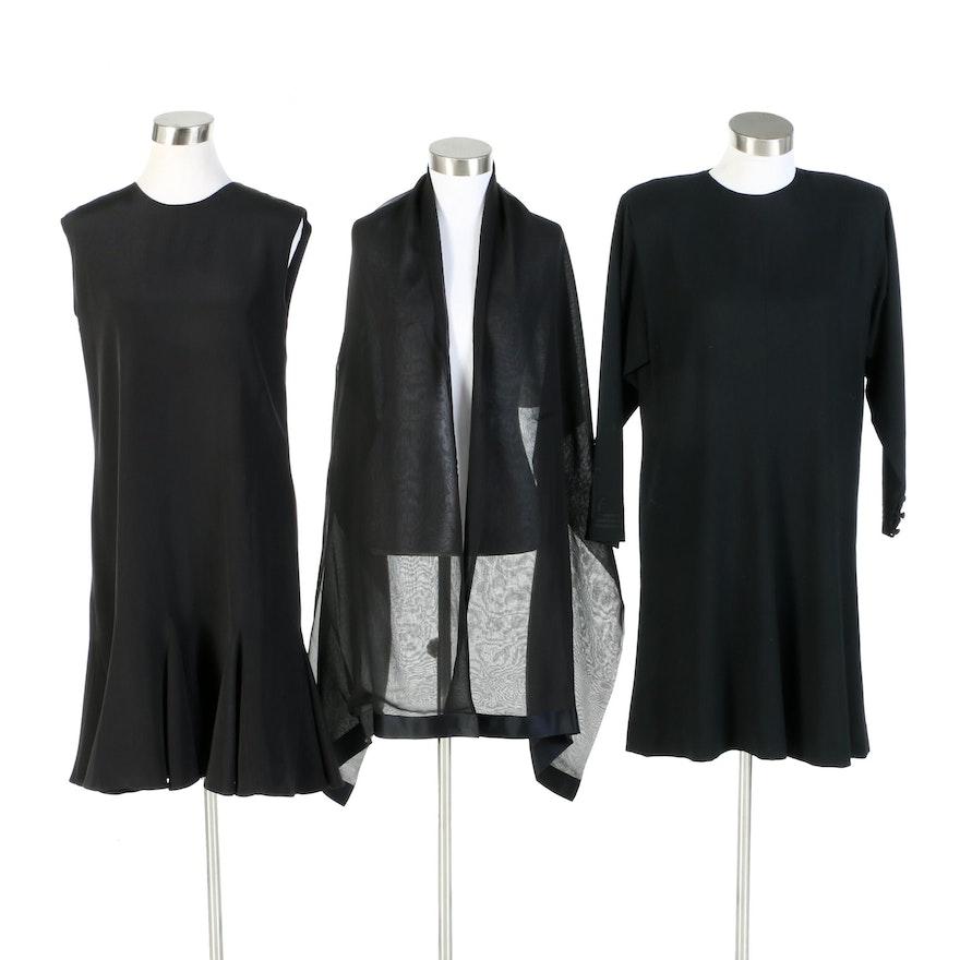 Mary Ann Restivo and Richilene Little Black Dresses and Silk Wrap, Vintage