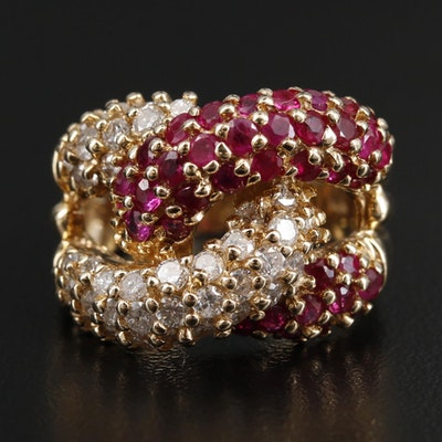 14K Yellow Gold Ruby and 1.14 CTW Diamond Ring
