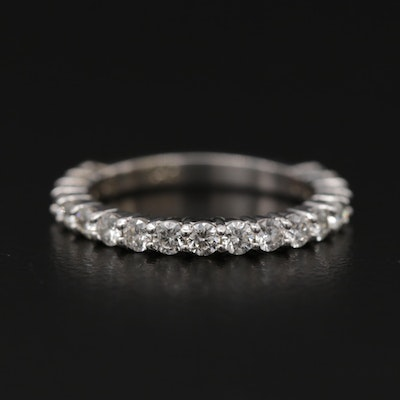 14K White Gold Diamond Lined Band