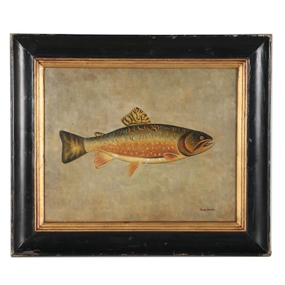 Trevor James Oil Painting of Trout
