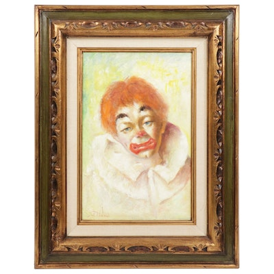 Victor Dinovi Clown Portrait Oil Painting, Mid to Late 20th Century