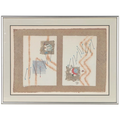 Syd Kramer Abstract Mixed Media Monotype Print