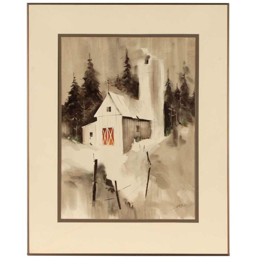Ray Loos Watercolor Painting of Landscape with Barn