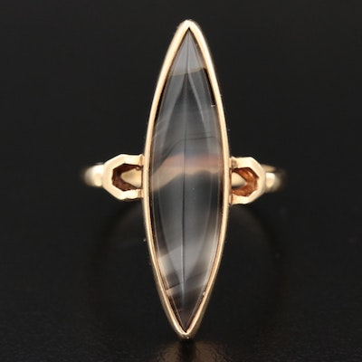 10K Yellow Gold Agate Ring