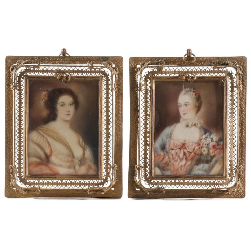 "Miniature Oil Portraits ""Madame Pompadour"" and ""Barbara Strozzi"", 19th Century"