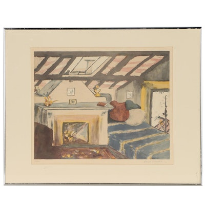 Sarah Churchill Lithograph of Interior Scene