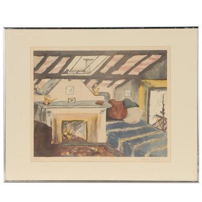 Sarah Churchill Lithograph of Interior Scene