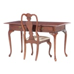 Queen Anne Style Cherry Writing Desk and Chair, Late 20th Century