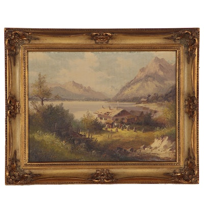 "Landscape Oil Painting of Mountain Landscape ""Walchensee"""