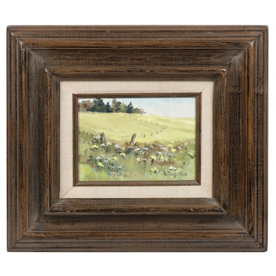 Pastoral Landscape Oil Painting, Mid to Late 20th Century